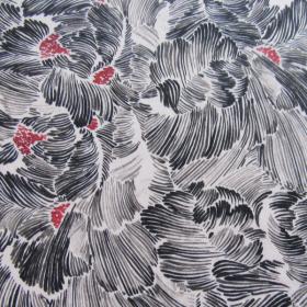Viscose fabric black flowers