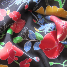 Black Viscose Crepe fabric Poppies