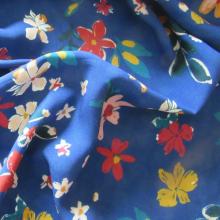 Blue Viscose fabric Wildflowers