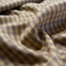 Remnant beige plaid wool fabric with check pattern 79 cm x 158 cm