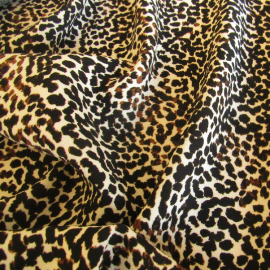 Remnant Leopard polyester fabric  76 cm x 150 cm