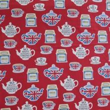 Remnant Japanese fabric British tea time 57 cm x 110 cm