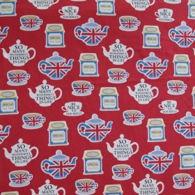 Remnant Japanese fabric British tea time 57 cm x 110 cm