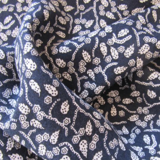 Dark Blue Viscose & Wool fabric Foliage
