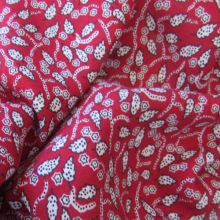 Red Viscose & Wool fabric Foliage