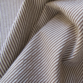 Brown and ivory striped goffered cotton fabric