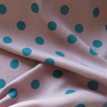 Old pink Viscose & Wool fabric Polka dots