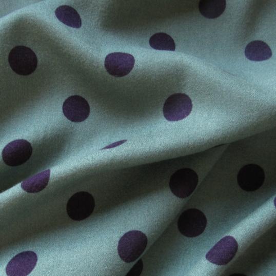 Petrol blue Viscose & Wool fabric Polka dots
