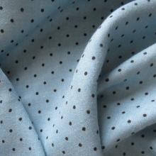 Blue Viscose & Wool fabric Polka dots
