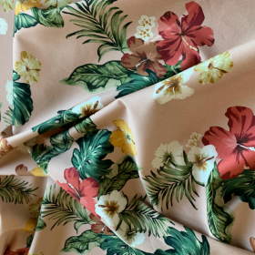 Dusty rose cotton sateen fabric with Tropical flowers