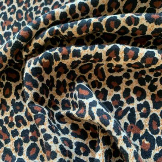 Brown Viscose & Wool fabric Leopard 1