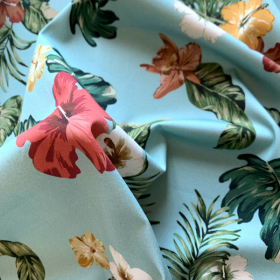 Blue mint cotton sateen fabric with Tropical flowers