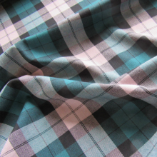Viscose checked pattern emerald and pink beige