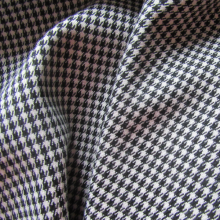 Black and white Pied de poule viscose fabric
