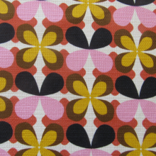 Remnant Cotton pique fabric Vintage Flowers 91 cm x 145 cm