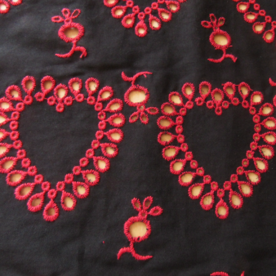 Remnant Black broderie anglaise cotton fabric 70 cm x 148 cm