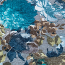 Turquoise Viscose jersey fabric floral pattern