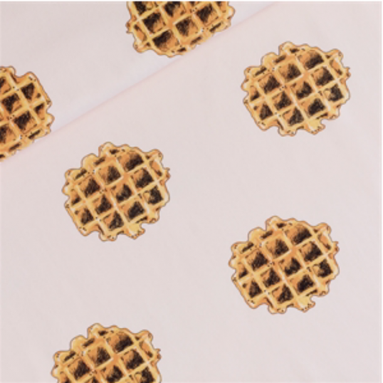 Remant Nude French terry knit fabric Waffles 34 cm x 150 cm