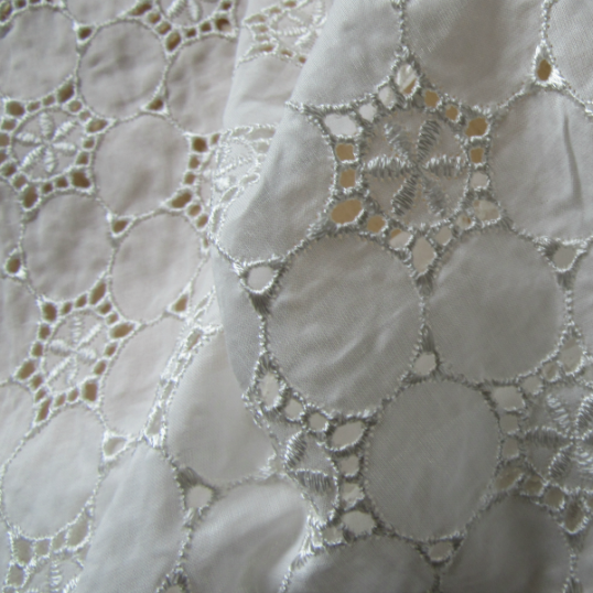 Remnant Ivory broderie anglaise cotton fabric 60 cm x 140 cm