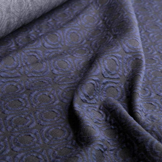Remnant blue and black cotton jersey fabric 55 cm x 155 cm