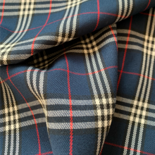 Remnant Navy blue Prince of Wales Viscose fabric 80 cm x 148 cm
