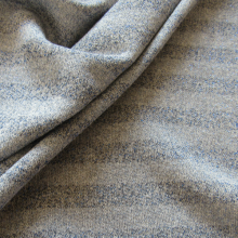 Remnant Blue Jeans stripes Lurex french terry fabric  85 cm x 200 cm