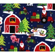 Remnant Cotton Fabric flanella santas farm 135 cm x 110 cm