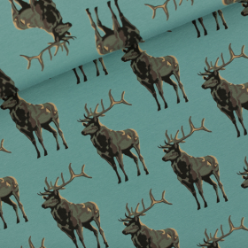 Trellis Blue French terry knit fabric Deer