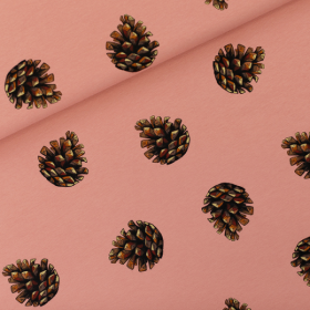 French terry knit fabric Pine Cones Cameo Brownish Pink