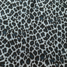 Remnant  Blue Viscose & Wool fabric Leopard  40 cm x 153 cm