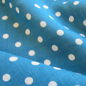 Remnant Turquoise linen fabric with polka dots 118 cm x 145 cm