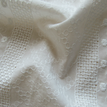 Remnant Ivory broderie anglaise cotton fabric stripes and flowers 180 cm x 142 cm