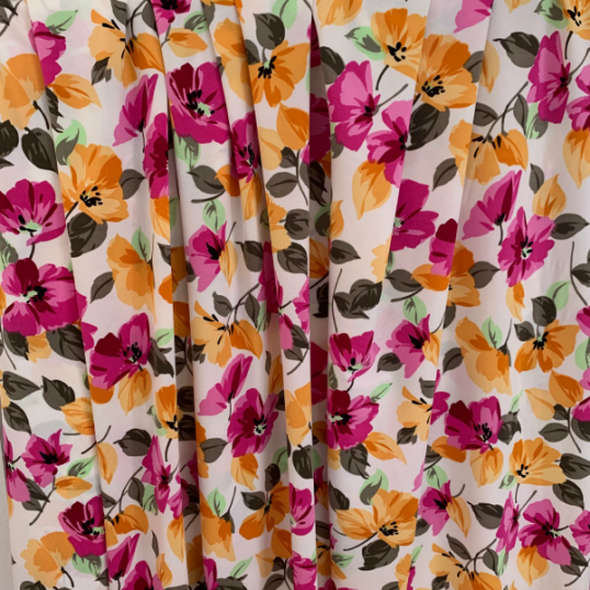 Floral Viscose Jersey fabric orange & pink
