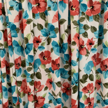 Floral Viscose Jersey fabric turquoise & old pink
