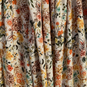 Orange Floral Crepe Viscose fabric