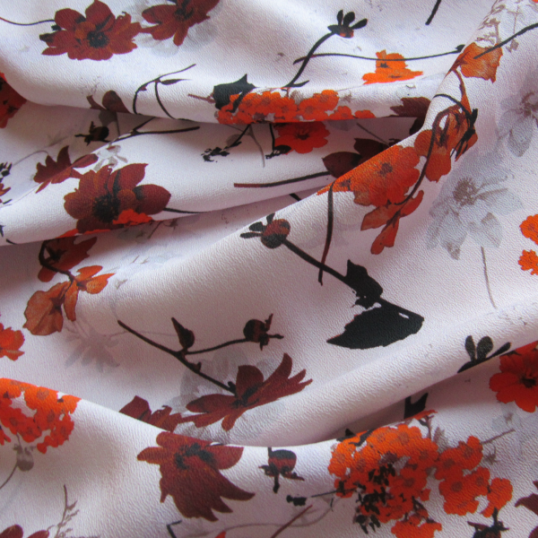 Antique Pink Floral Crepe Viscose fabric