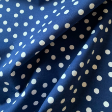 Dark blue Cotton fabric & white polka dots