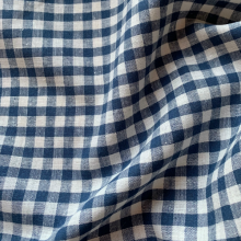 Linen fabric dark blue/ecru check pattern