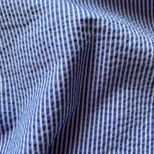 Bleu de France and white Seesurcker fabric