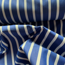 Dark Blue and white striped cotton fabric