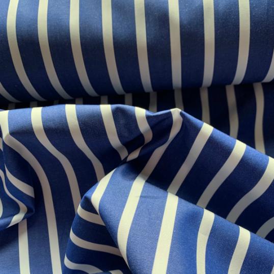 Dark Blue and white striped cotton fabric
