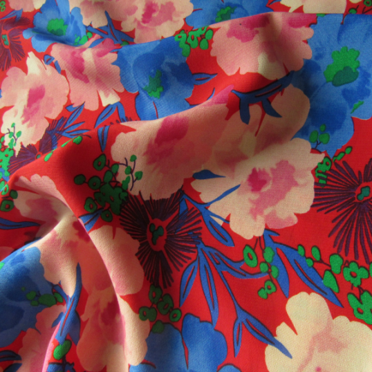Red and Blue floral Viscose