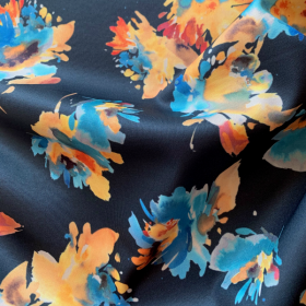 Dark blue Floral Scuba fabric