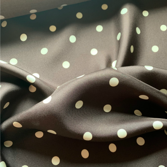Coffe colored Silk Twill with Polka dots