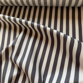 Grey and white striped cotton fabric SAINT MALO