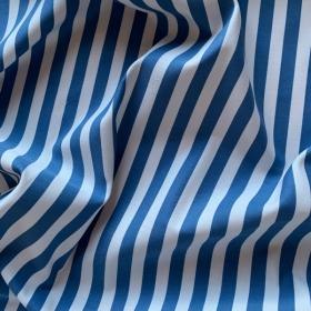 Cobalt blue and white striped cotton fabric DINARD
