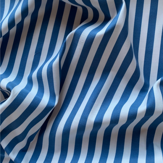 Cobalt blue and white striped cotton fabric DINARD