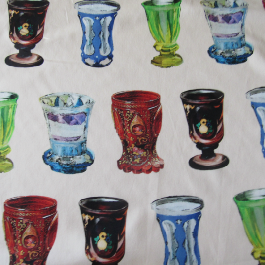 Remnant Cotton fabric with baroque glasses 87 cm x 140 cm