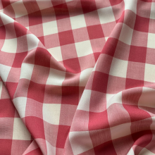 Red and white checkered Popeline cotton