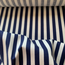 Dark blue and white striped cotton fabric SAINT LUNAIRE